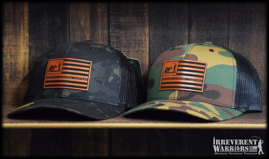 Donkey Grenade Flag Leather Camo Snap Back
