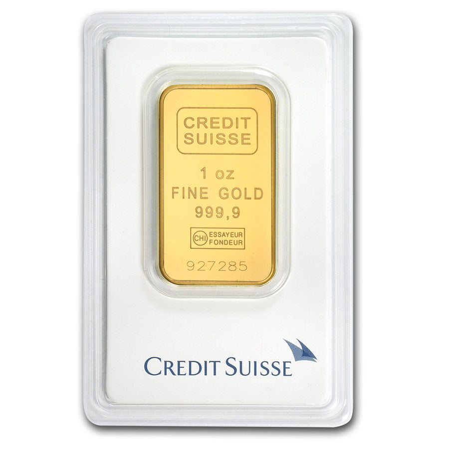 1 oz Credit Suisse Gold Bar .9999 in Assay