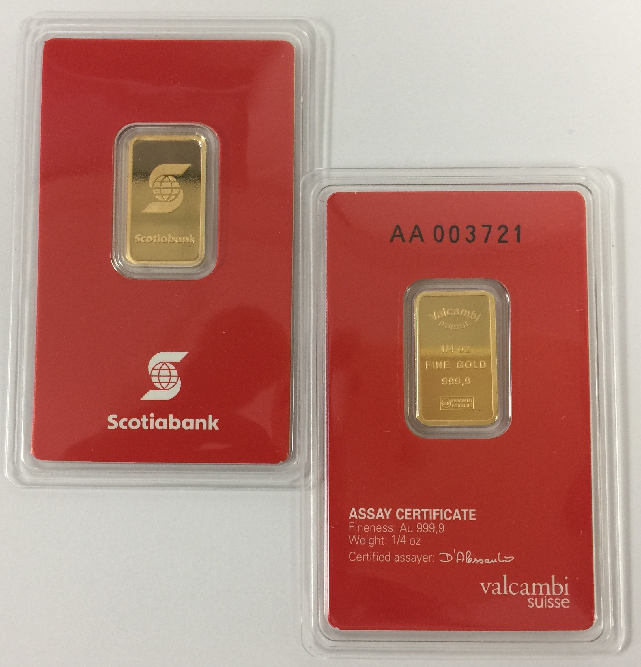 1/4 oz Scotiabank-Valcambi Suisse Gold Bar-9999