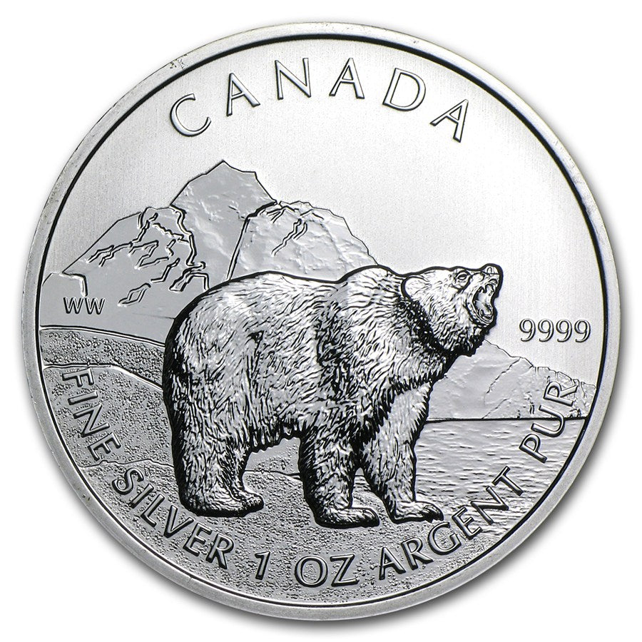 1 Oz Grizzly Canadian Silver Coin