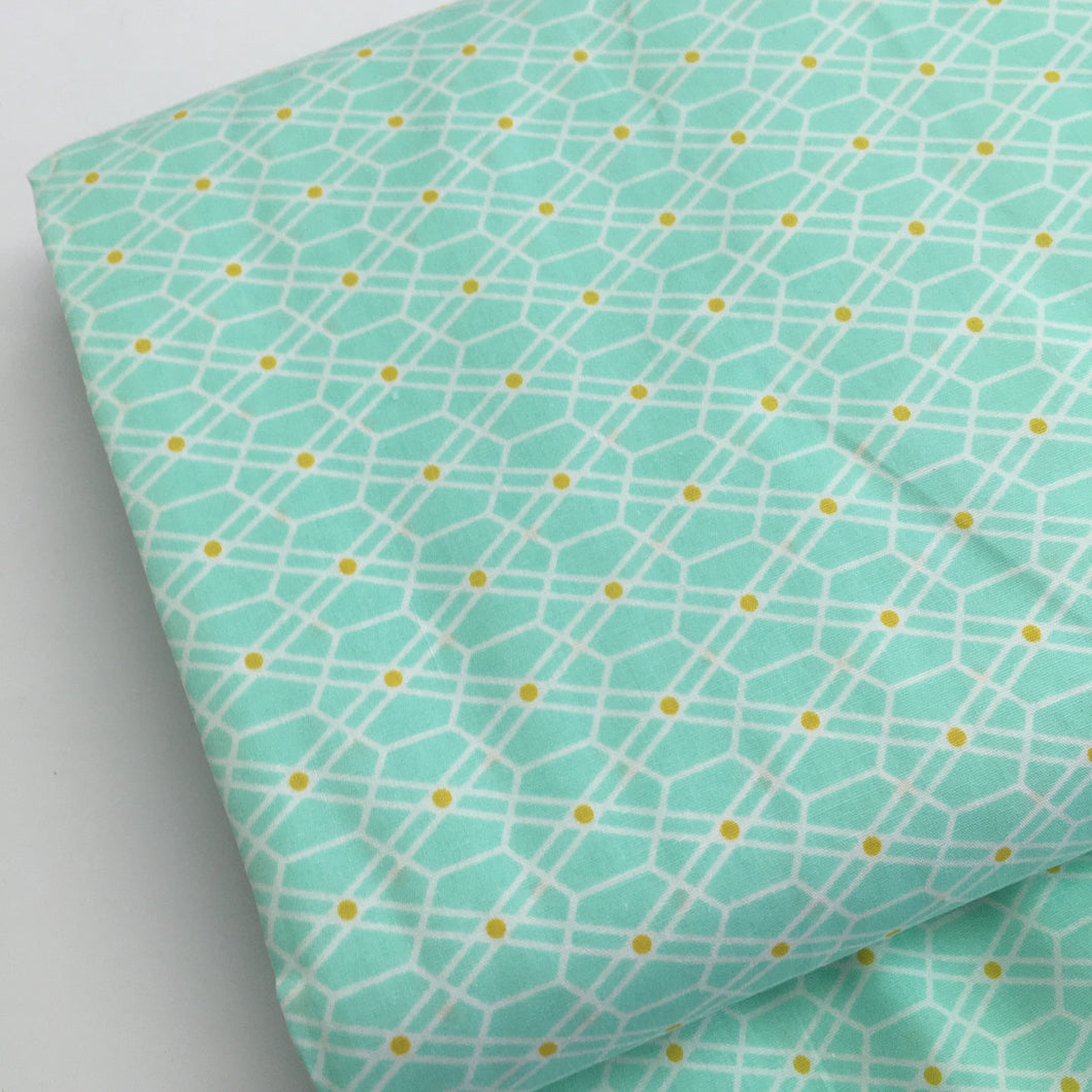 Honeycomb Green Cotton Poplin