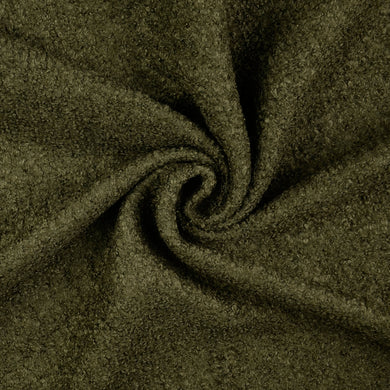 Olive Green Boucle Wool Blend