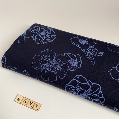 Camellia Bouquet Navy Viscose Jersey