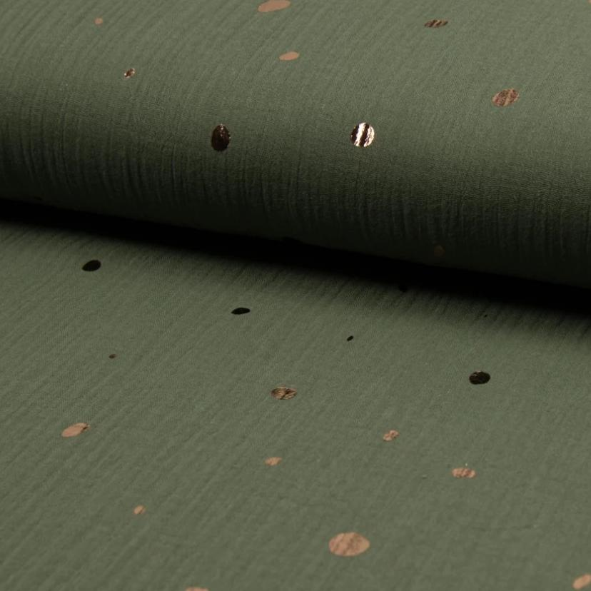 Olive Sparkle Mixed Dots Double Gauze Fabric