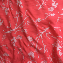 Coral Apple Blossom Print Viscose Dress Fabric