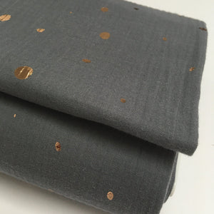 Olivia Double Gauze Fabric Soft Grey Dot 1.6m