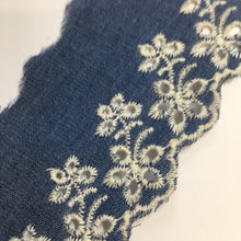 Chambray Eyelet Lace Denim Blue Lace 60mm