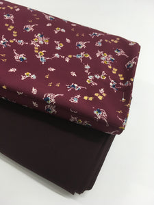 Forget Me Not Floral Print Bordeaux 1.15m