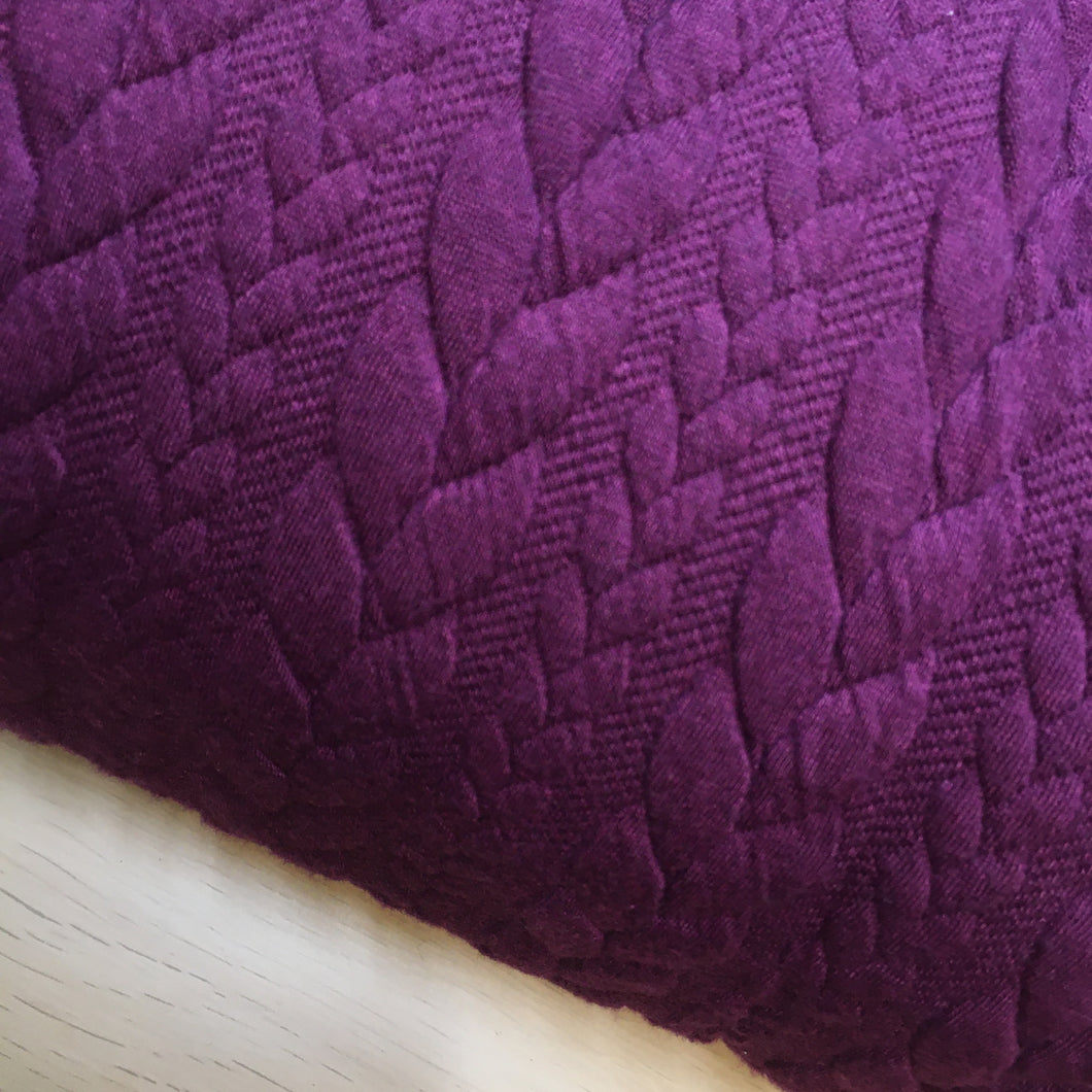 Heavy Cable Knit Jersey Aubergine