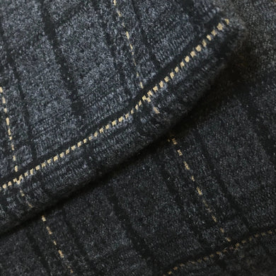 Charcoal Wool Feel Checked Double Knit Fabric