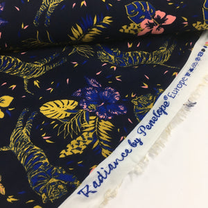 Radiance Tiger Tropical Floral Viscose Dress Fabric