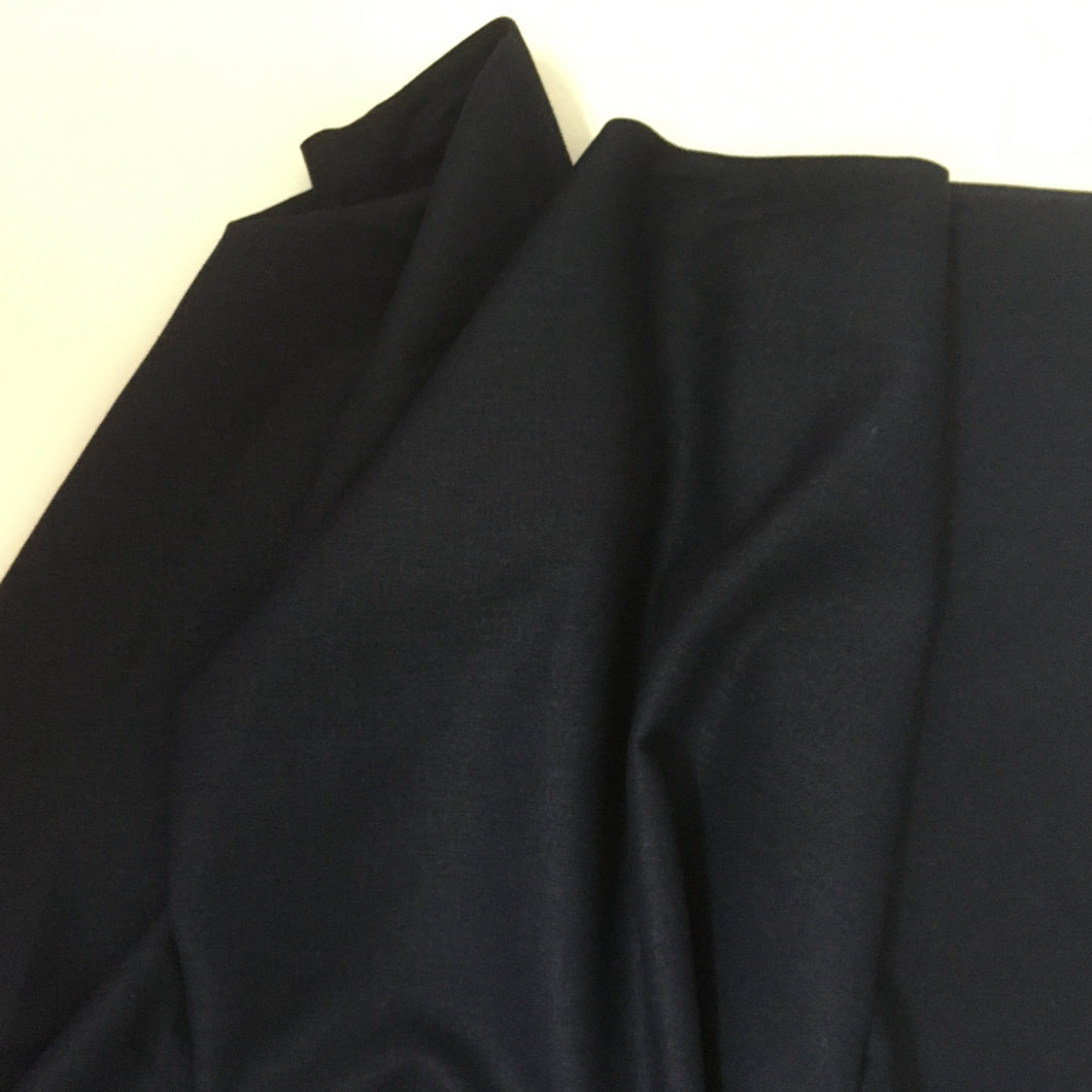 Navy Blue Linen Viscose Blend Fabric