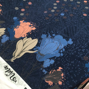 Magnolia Border Print Viscose Jersey Fabric