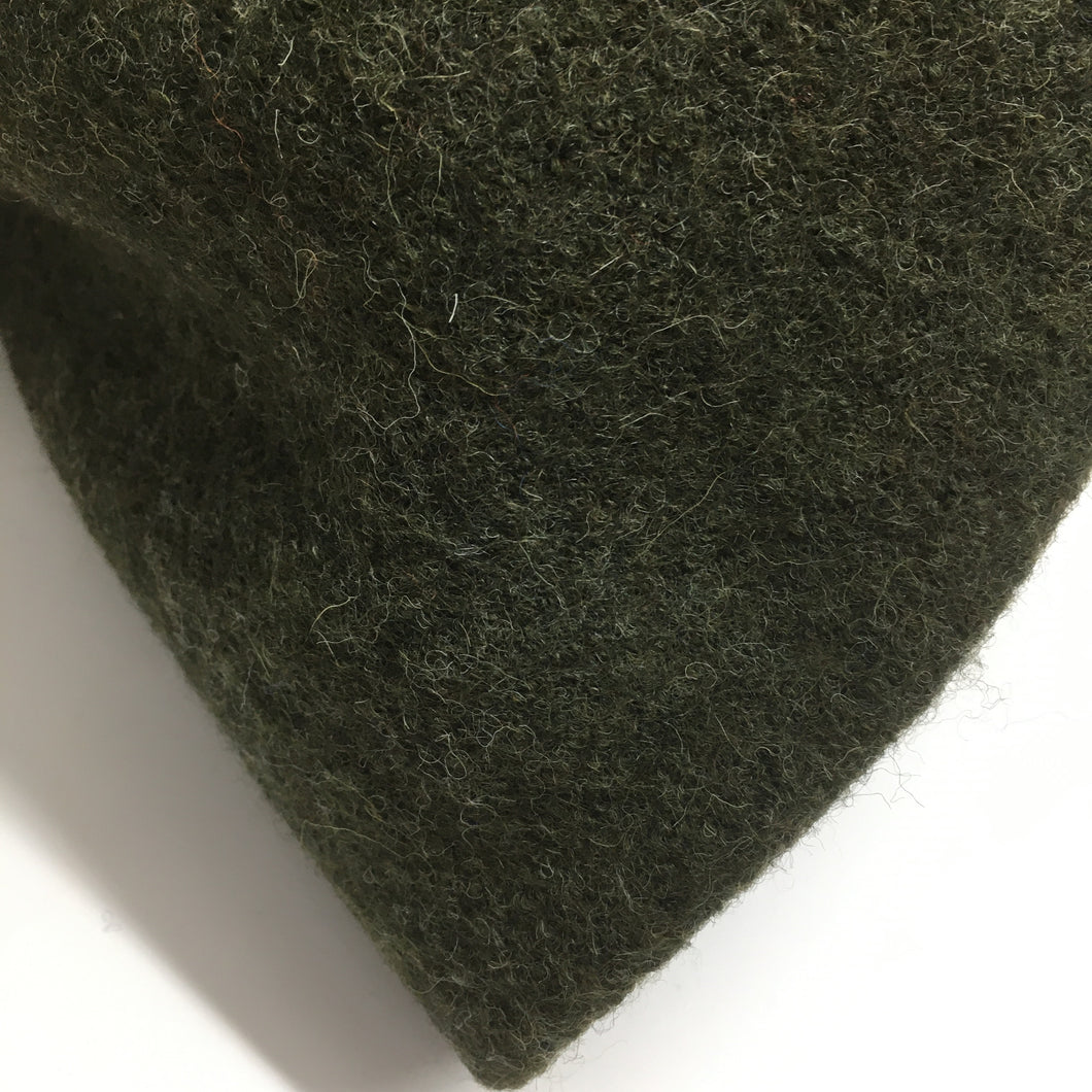 New Dark Olive Green Melange Pure Boiled Wool - 0.9m