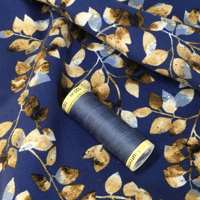 Blue Floral Cotton Jersey Fabric