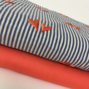 Coral Hearts Cotton Fabric by Hamburger Liebe