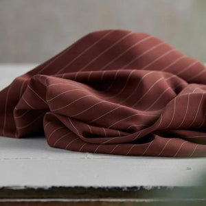 Raisin Pin Stripe Twill Tencel by meetMILK