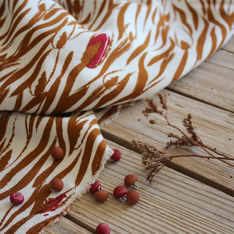 Eglantine et Zoe Zebra Mother of Pearl Viscose Crepe