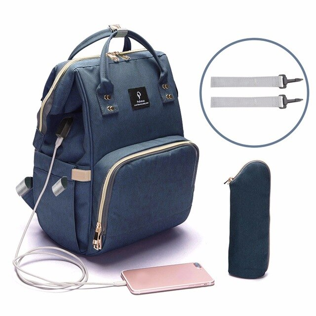 Mommy Maternity Contrast Color Nappy Diaper Backpack Travel Large Spacious Tote Shoulder Bag Nursing Organizer Bag Color : Blue+White