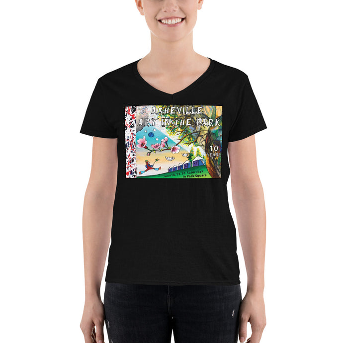 2018 Asheville Art in the Park Women's Casual V-Neck Shirt