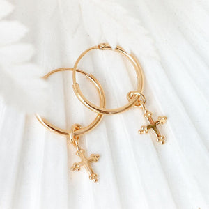 GOLD CROSS SLEEPER EARRINGS
