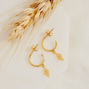 GOLD CELESTIAL DIAMOND HOOP EARRINGS