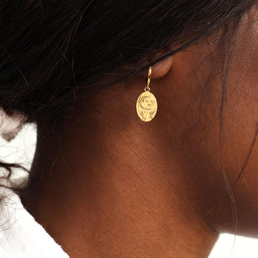 TRUST MOON & SHELL GOLD EARRINGS