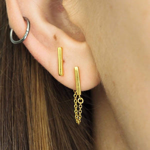 GOLD BAR AND CHAIN STUDS - RETREALM