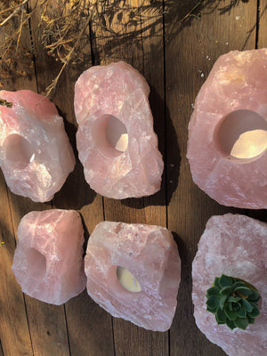 ROSE QUARTZ TEA LIGHT CANDLE HOLDER LRG (Approx 900g)