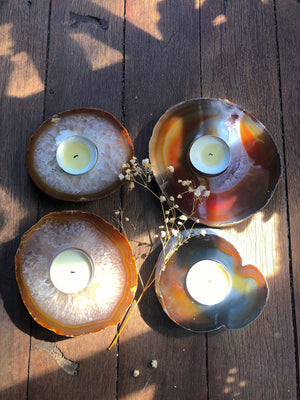 NATURAL AGATE TEA LIGHT CANDLE HOLDER - RETREALM