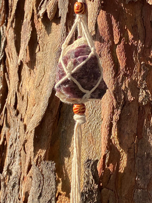 MACRAME CRYSTAL HANGERS PEACEFUL PURPLE LEPIDOLITE (Approx 217g)