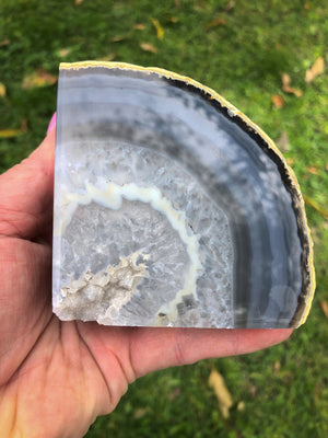 WHITE / BLUE AGATE BOOKENDS (Approx 1kg)