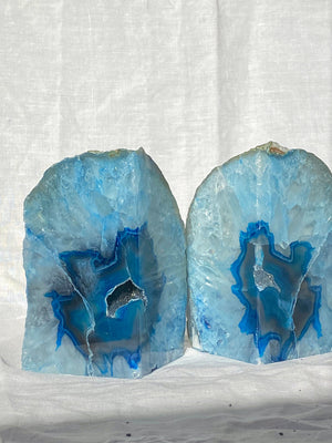 BLUE AGATE BOOKENDS PAIR POLISHED (1.73kg)