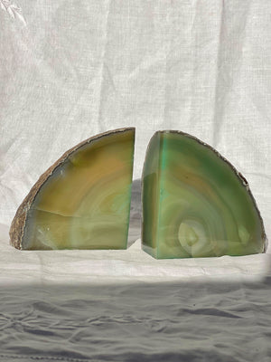GREEN AGATE BOOKENDS PAIR POLISHED (1.47kg)