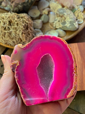 NATURAL PINK AGATE GEODE CAVE CRYSTAL