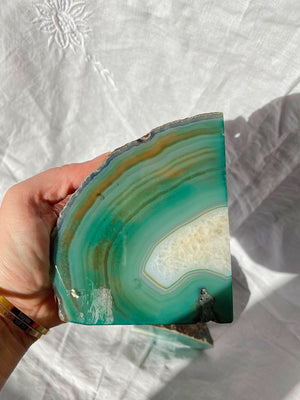 GREEN AGATE BOOKENDS PAIR POLISHED (1.96kg)