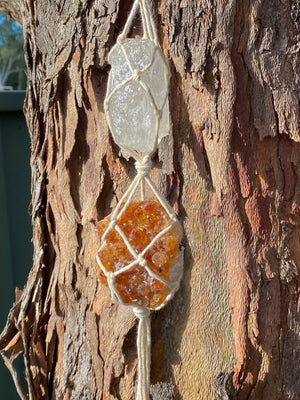 DOUBLE MACRAME CRYSTAL HANGER X CITRINE X CLEAR QUARTZ CRYSTAL (Approx 337g)