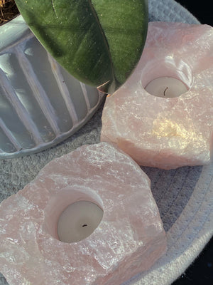 ROSE QUARTZ TEA LIGHT CANDLE HOLDER LRG (1.2kg-1.3kg)