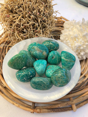 DARK GREEN AMAZONITE TUMBLED STONE