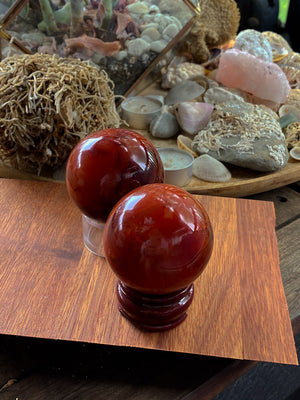 CARNELIAN NATURAL CRYSTAL SPHERE | POSITIVE CHANGE