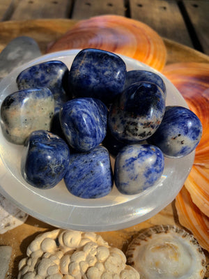 BLUE SODALITE TUMBLED POLISHED STONE