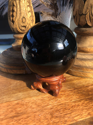 POLISHED BLACK OBSIDIAN SPHERE - RETREALM