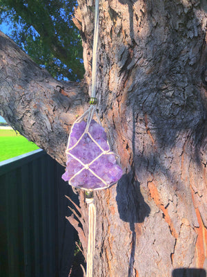 MACRAME CRYSTAL HANGERS X AMETHYST CRYSTAL CLUSTER (approx 150g) - RETREALM