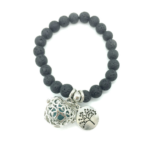Simple Style Black Lava Beads with Small Charm and Openable DIY Pendant