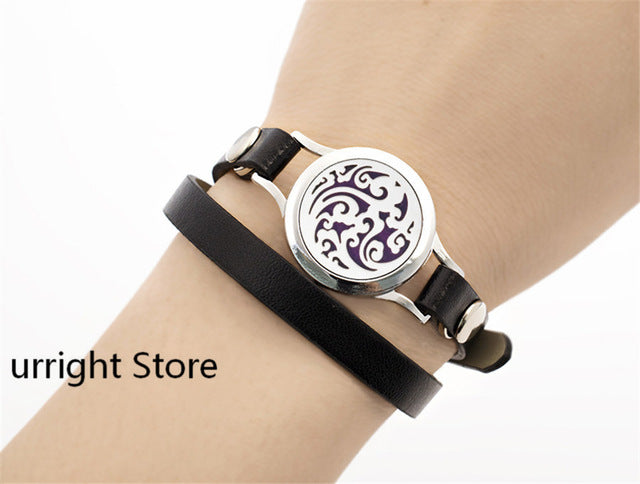 Aromatherapy Essential Oil Diffuser Locket Bracelets with Leather twist screw