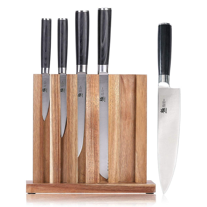 Japanese kitchen knife set with block