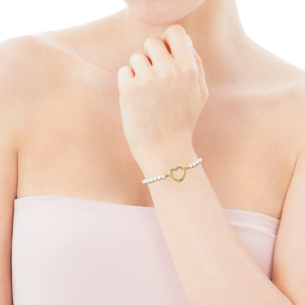 Hold Gold Heart Bracelet with Pearls-Bracelet-Tous Canada