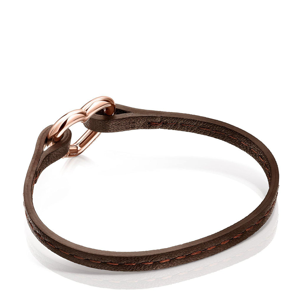 Hold Heart Bracelet in Rose Vermeil and Brown Leather-Bracelet-Tous Canada
