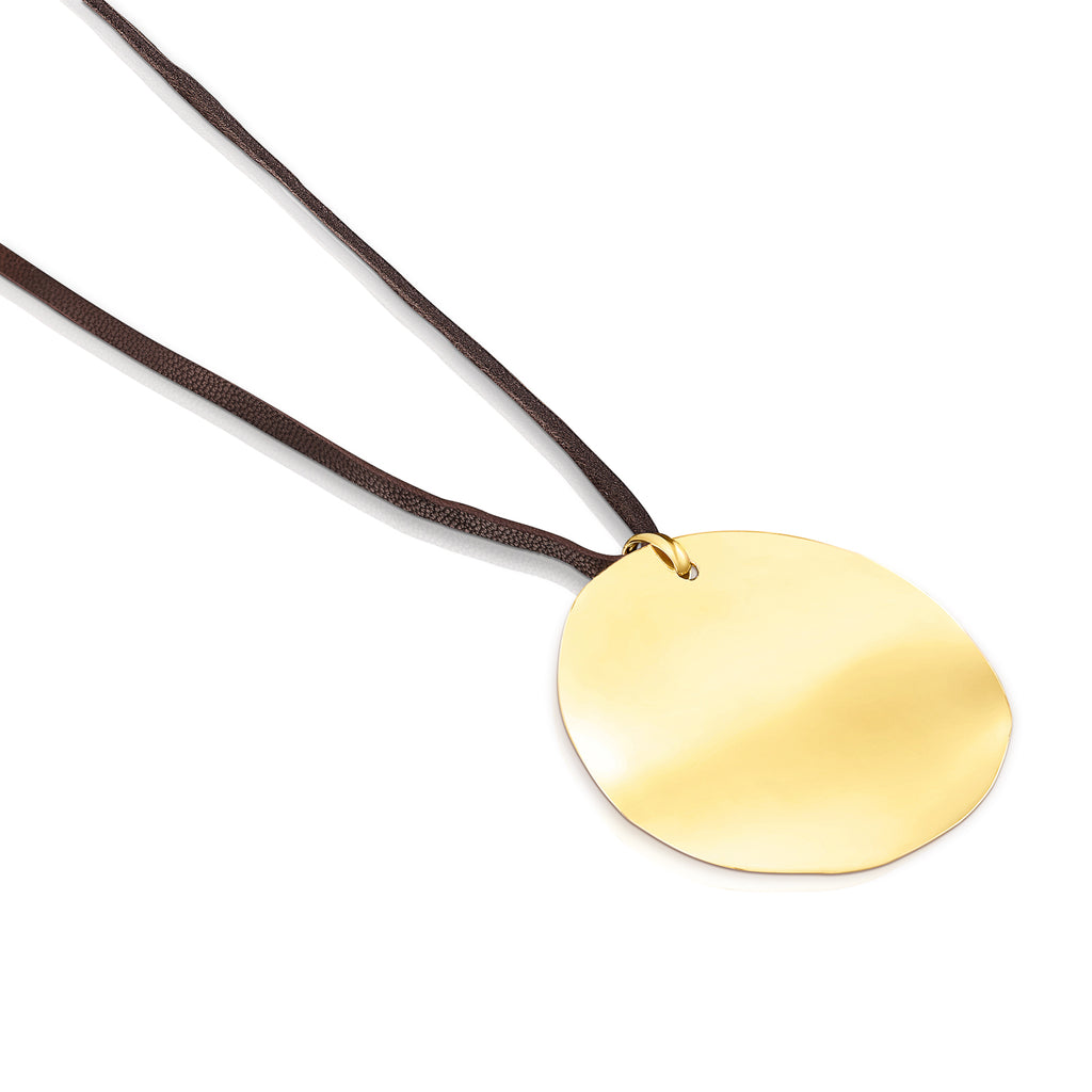 Silver Vermeil Nenufar Petal Necklace with Brown Cord
