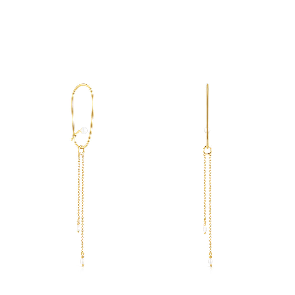 Long Silver Vermeil Nenufar Petal Earrings with Pearls